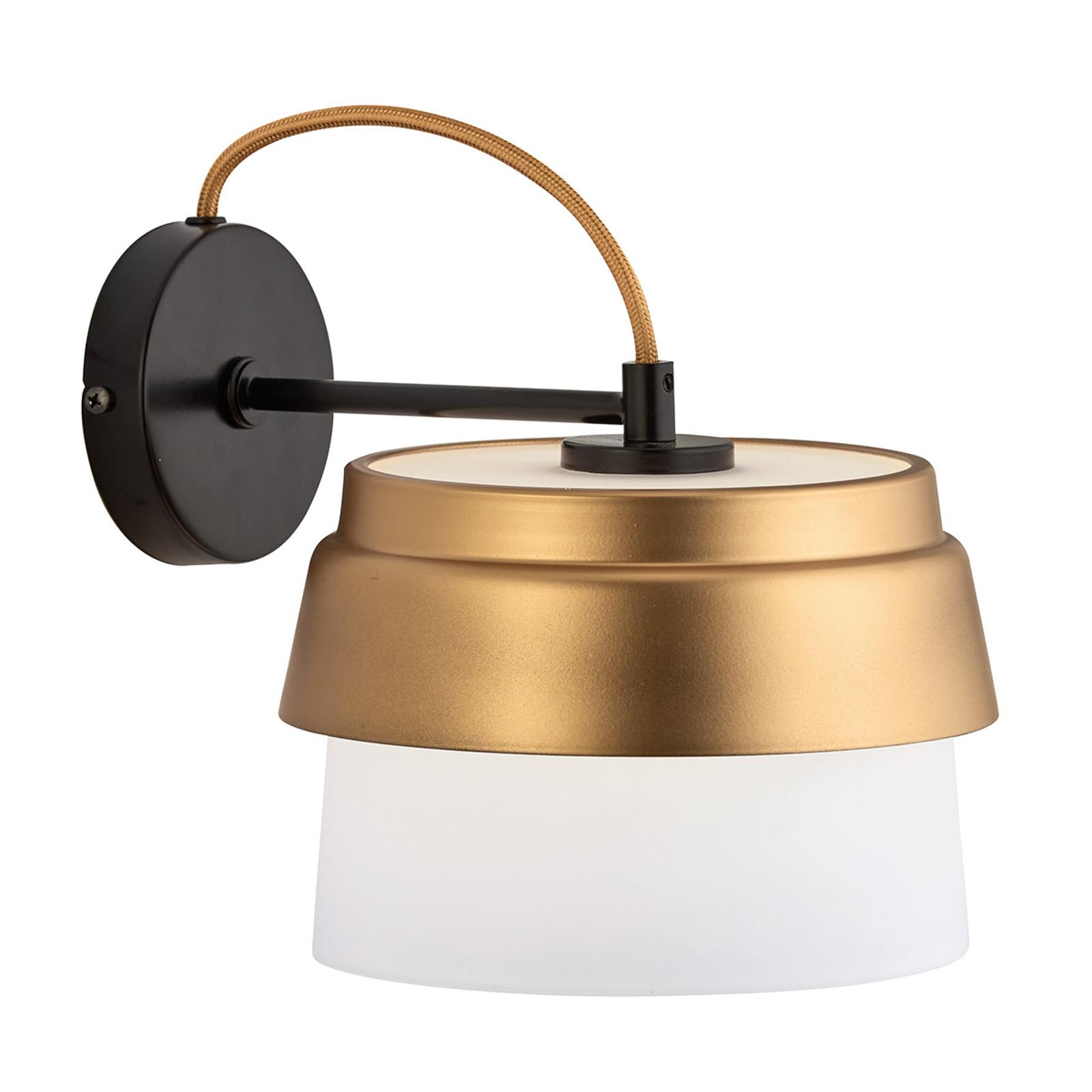 Wandlamp Morgan met glazen kap wit-goud