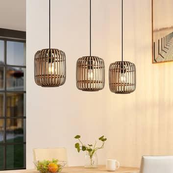 Lindby Canyana suspension, à 3 lampes, naturelle