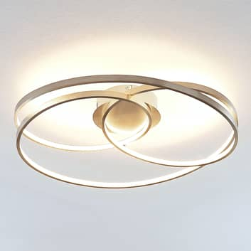 Lindby Ronka plafonnier LED, nickel satiné