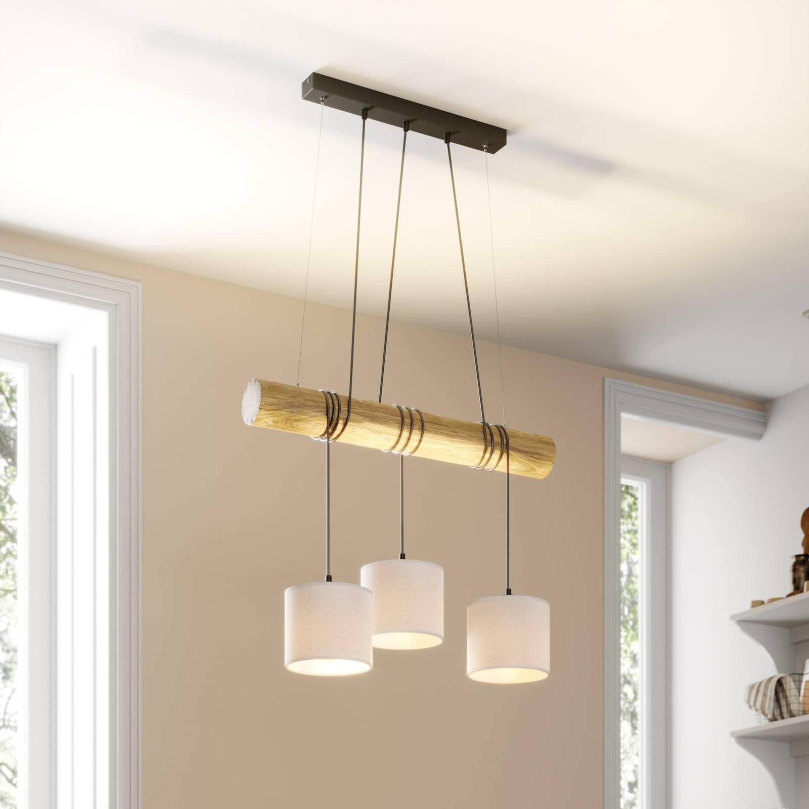 Hanglamp Sacide, houten balk, drie stoffen kappen