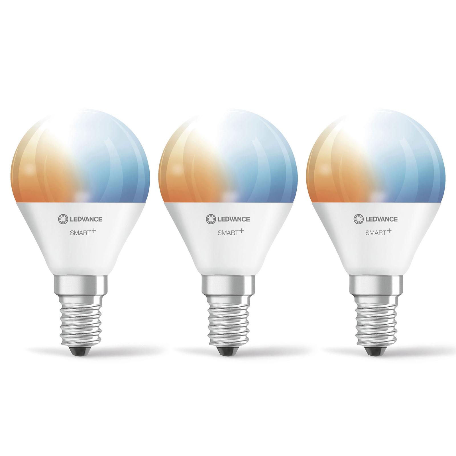 LEDVANCE SMART+ WiFi E14 5W goutte CCT, par 3
