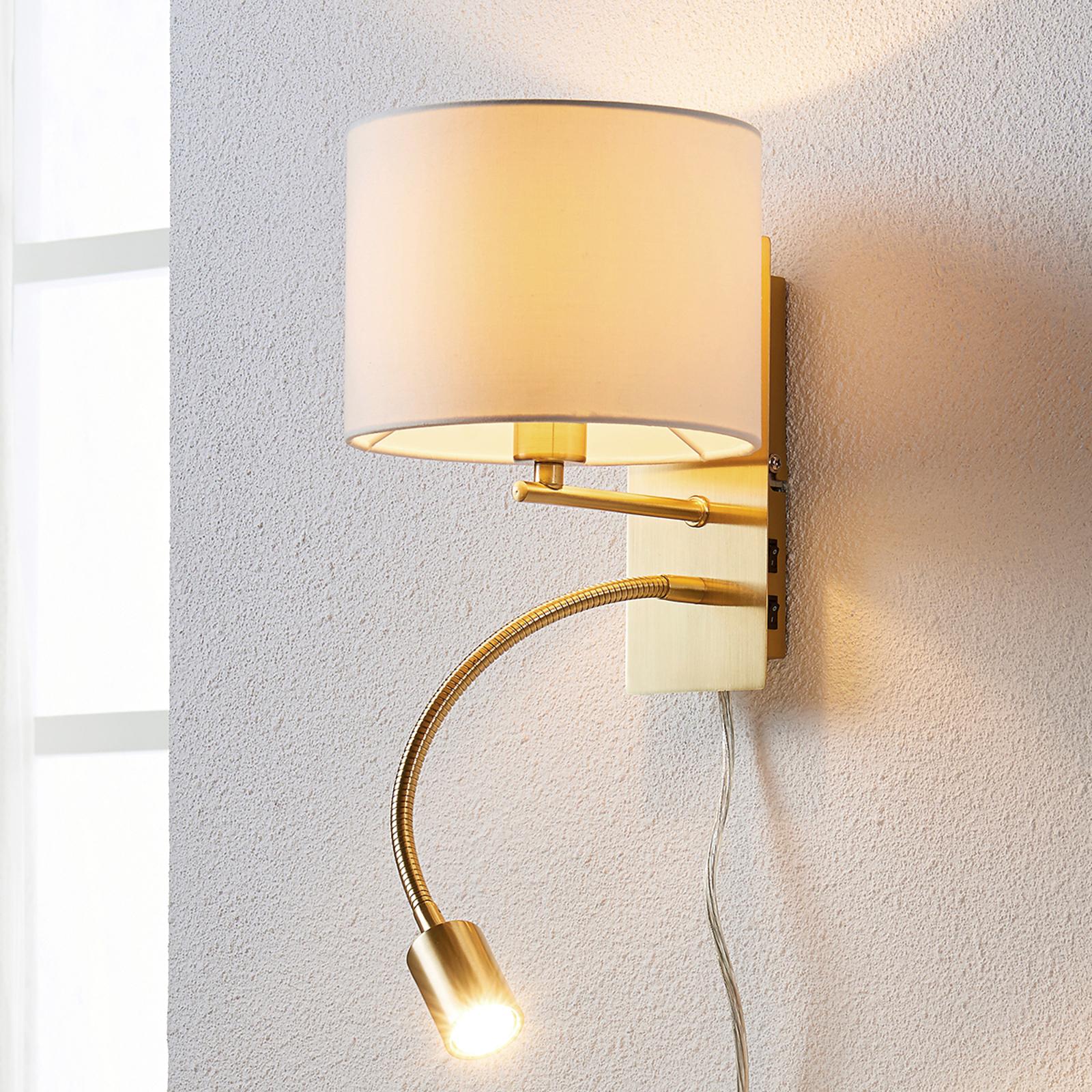 Mosiężna lampa ścienna Florens z lampką LED