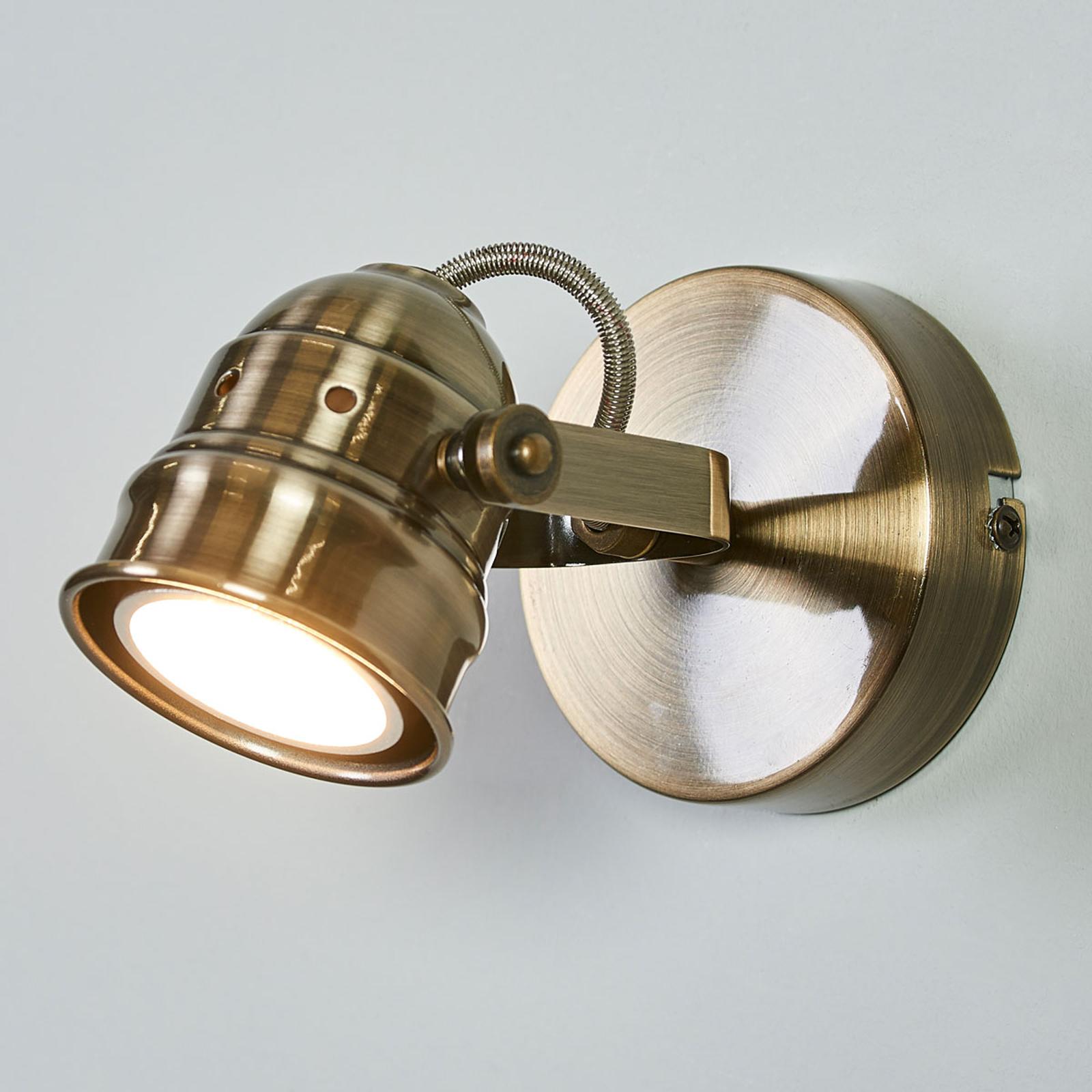 Antik messingfarvet LED væglampe Leonor