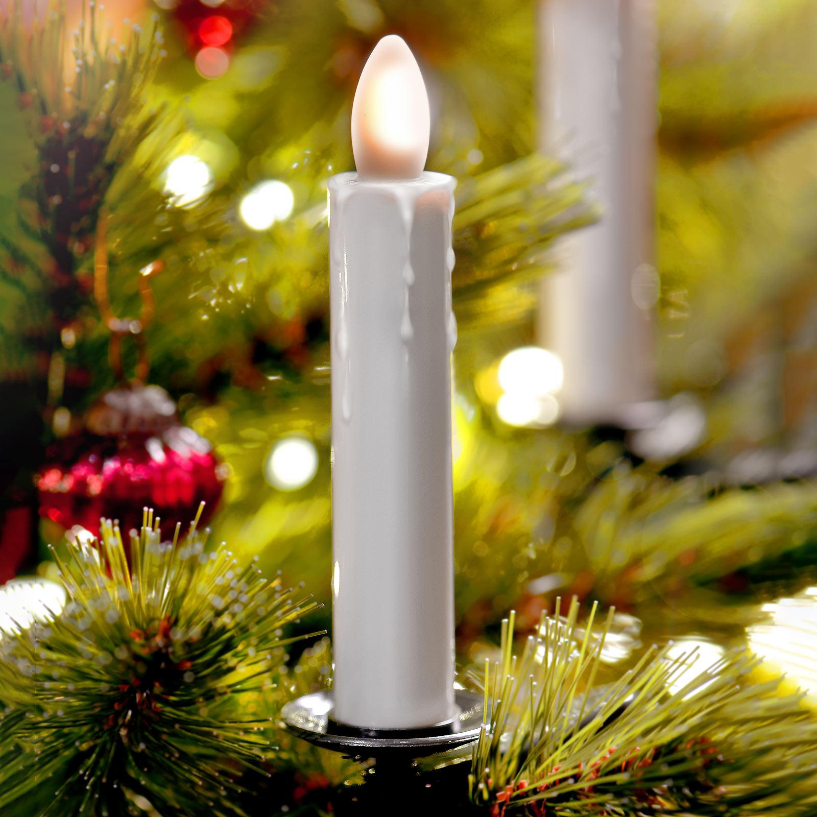 LED-boomkaars Shine, ivoor, draadloos, 5 per set