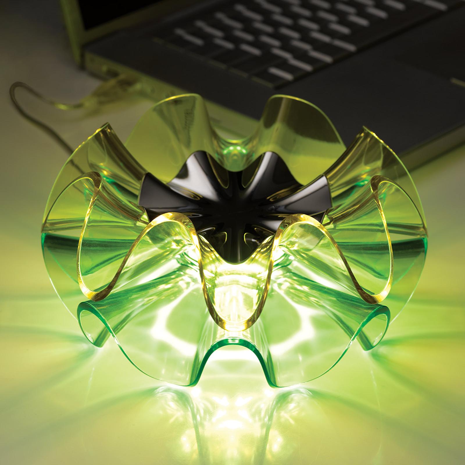 LED-Designer-Tischleuchte Flamenca in Grün