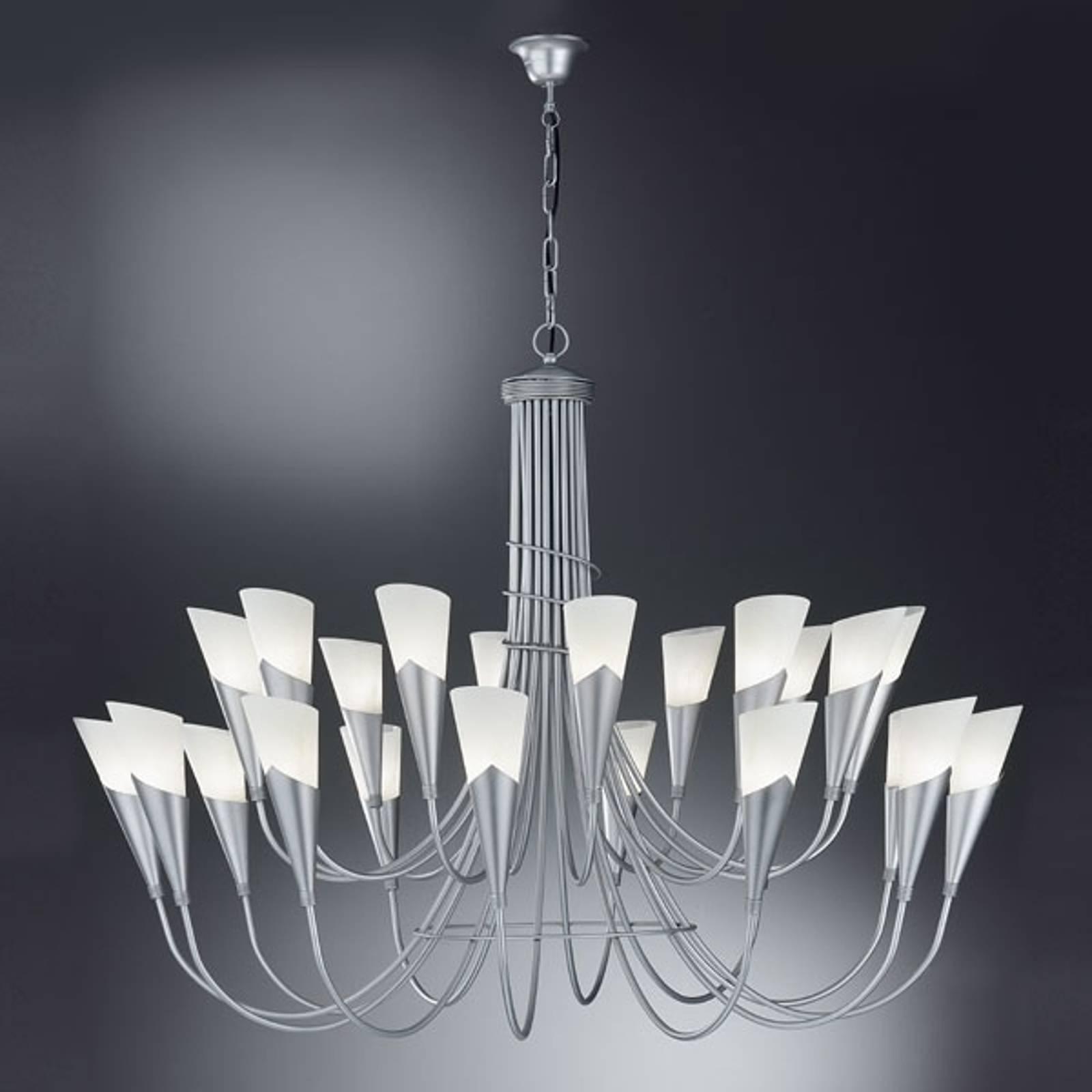Kroonluchter CAMPAGNOLA, 24-lichts, zilverkleurig