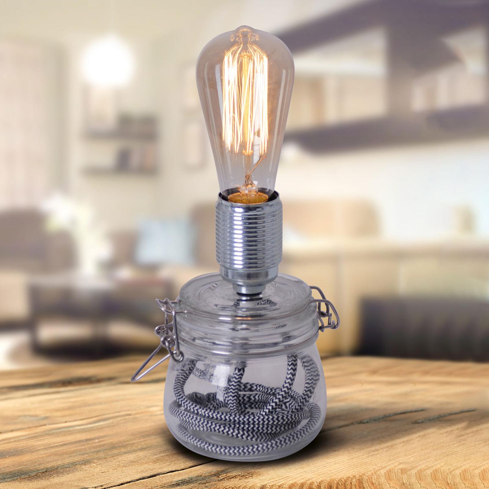 Tafellamp Max met glazen voet