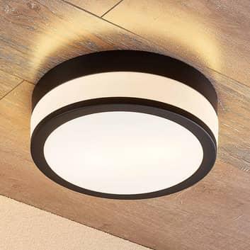 Lindby Flavi lámpara de techo de baño Ø 28cm negro