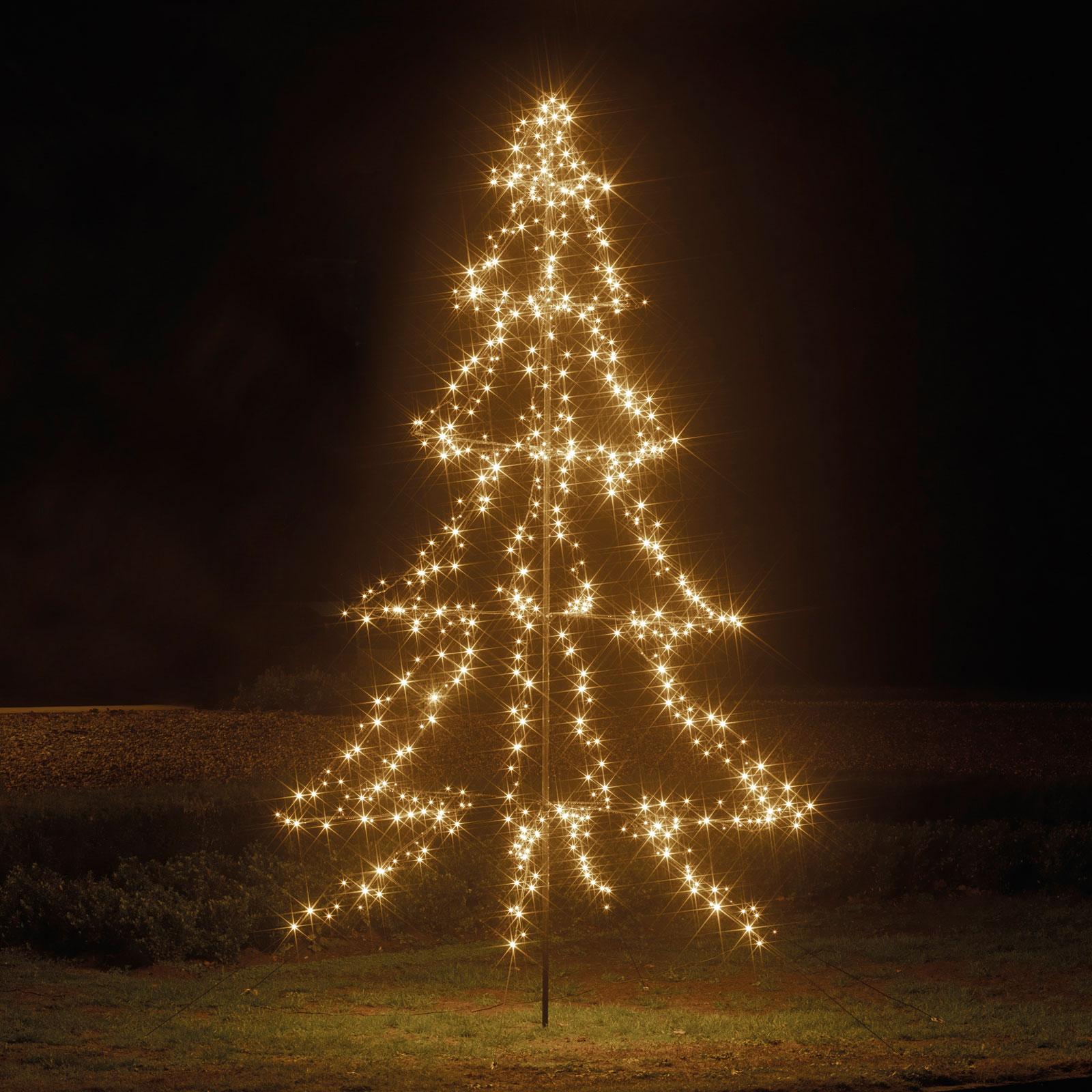 LED-træ med jordspyd, 4-trins, 600 lkld, 300 cm