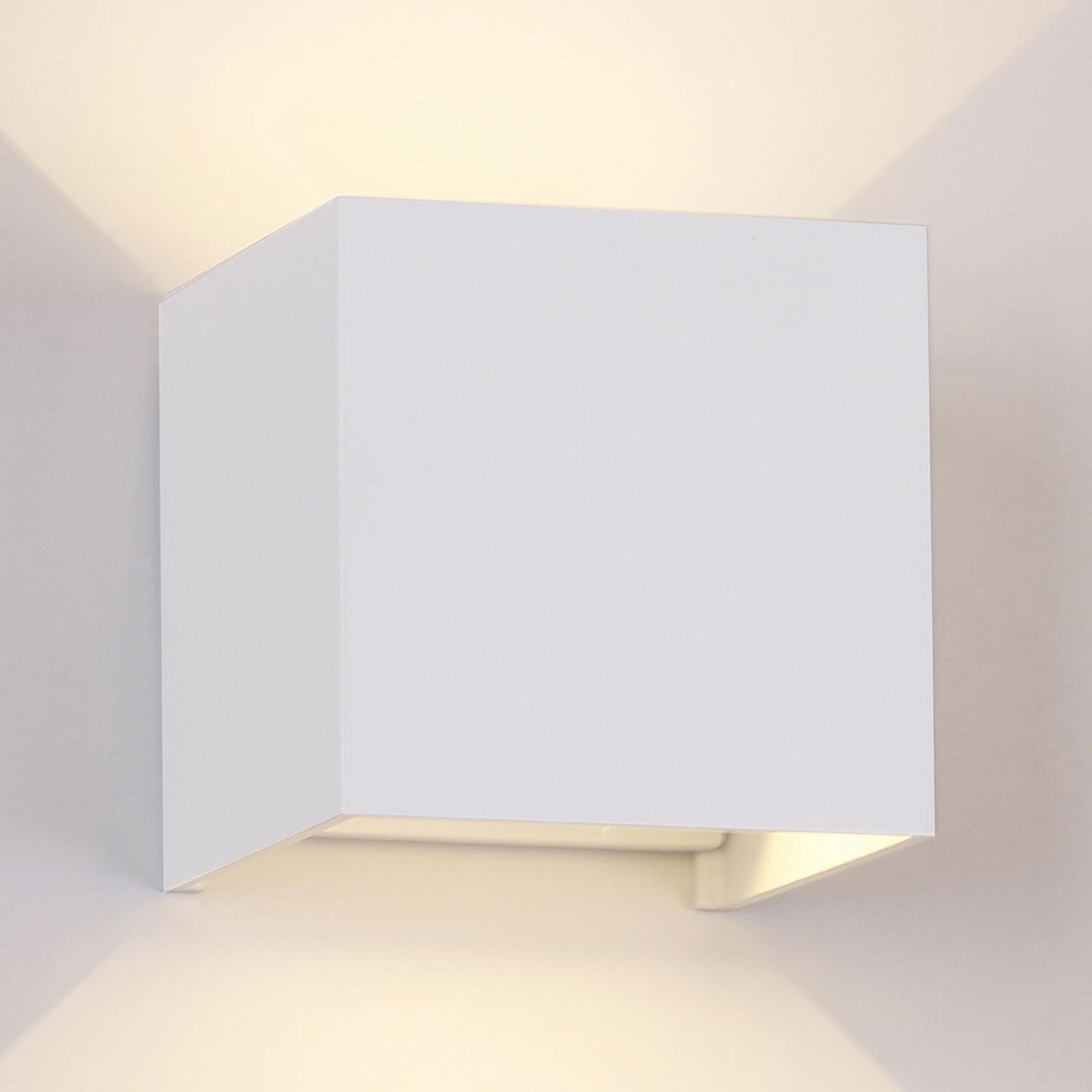Utendørs LED-vegglampe Davos kantet, hvit