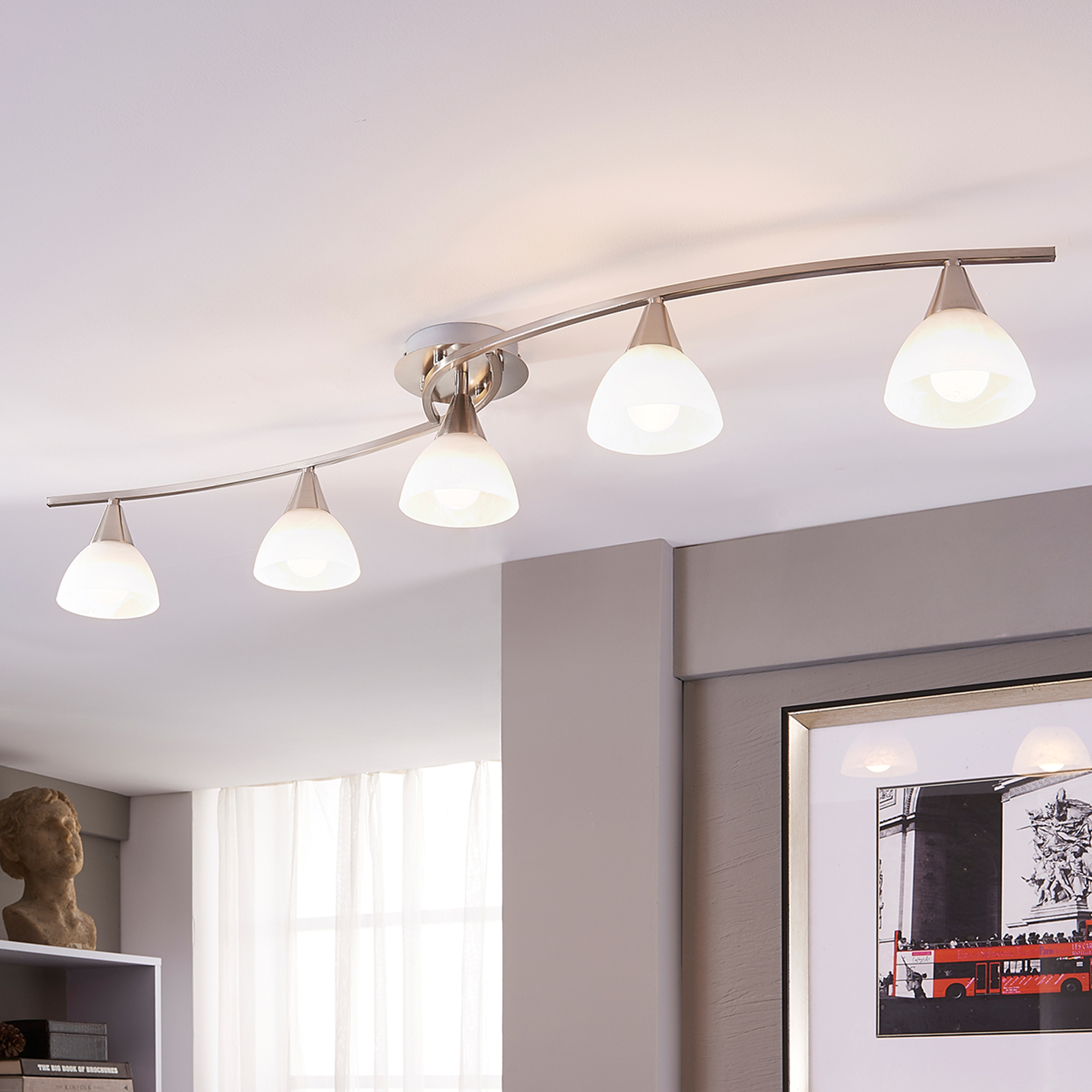 Plafonnier LED à 5 lampes Della, nickel mat