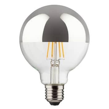 LED à tête miroir E27 8W 827, en forme de globe