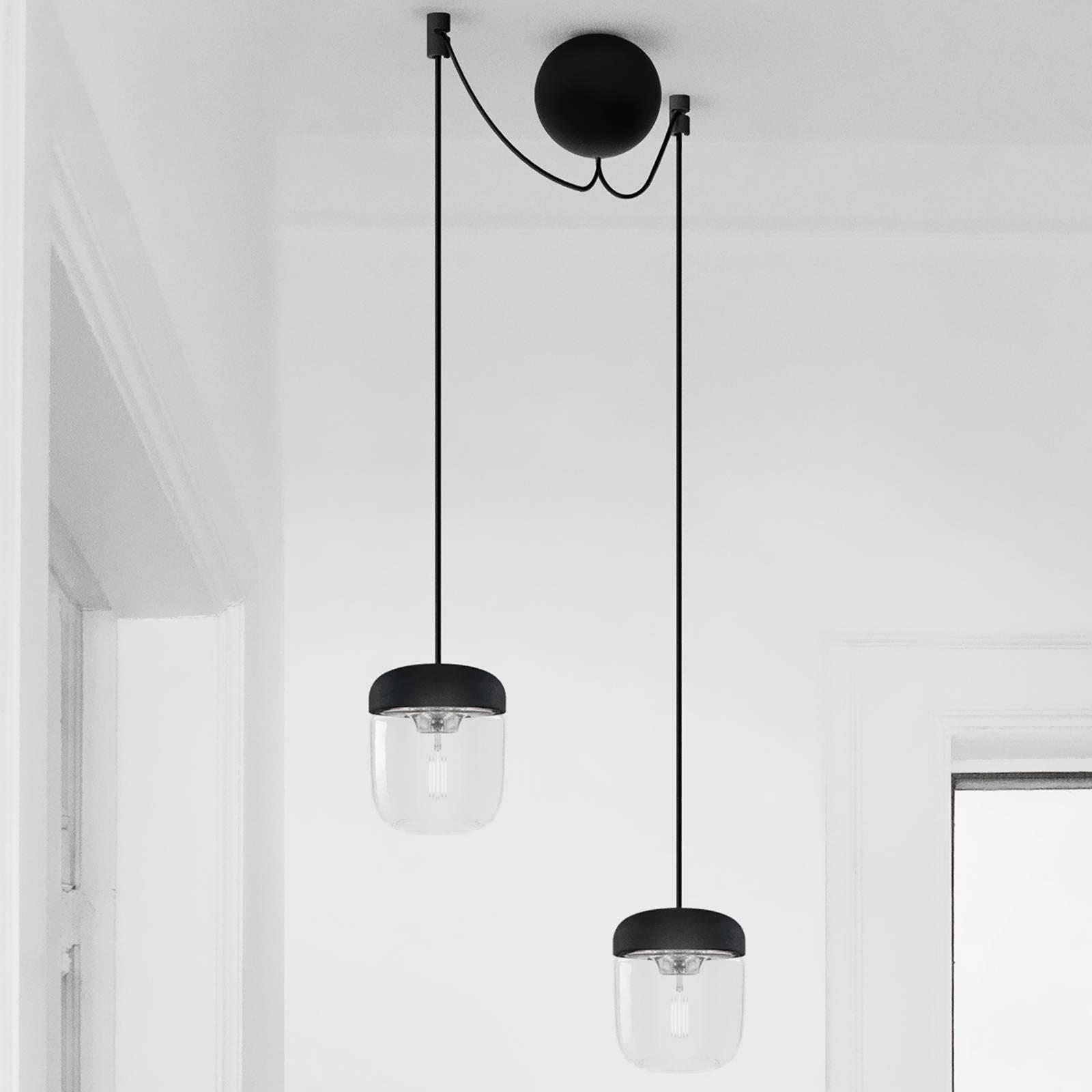 UMAGE Acorn hanglamp zwart/staal, 2 lampen