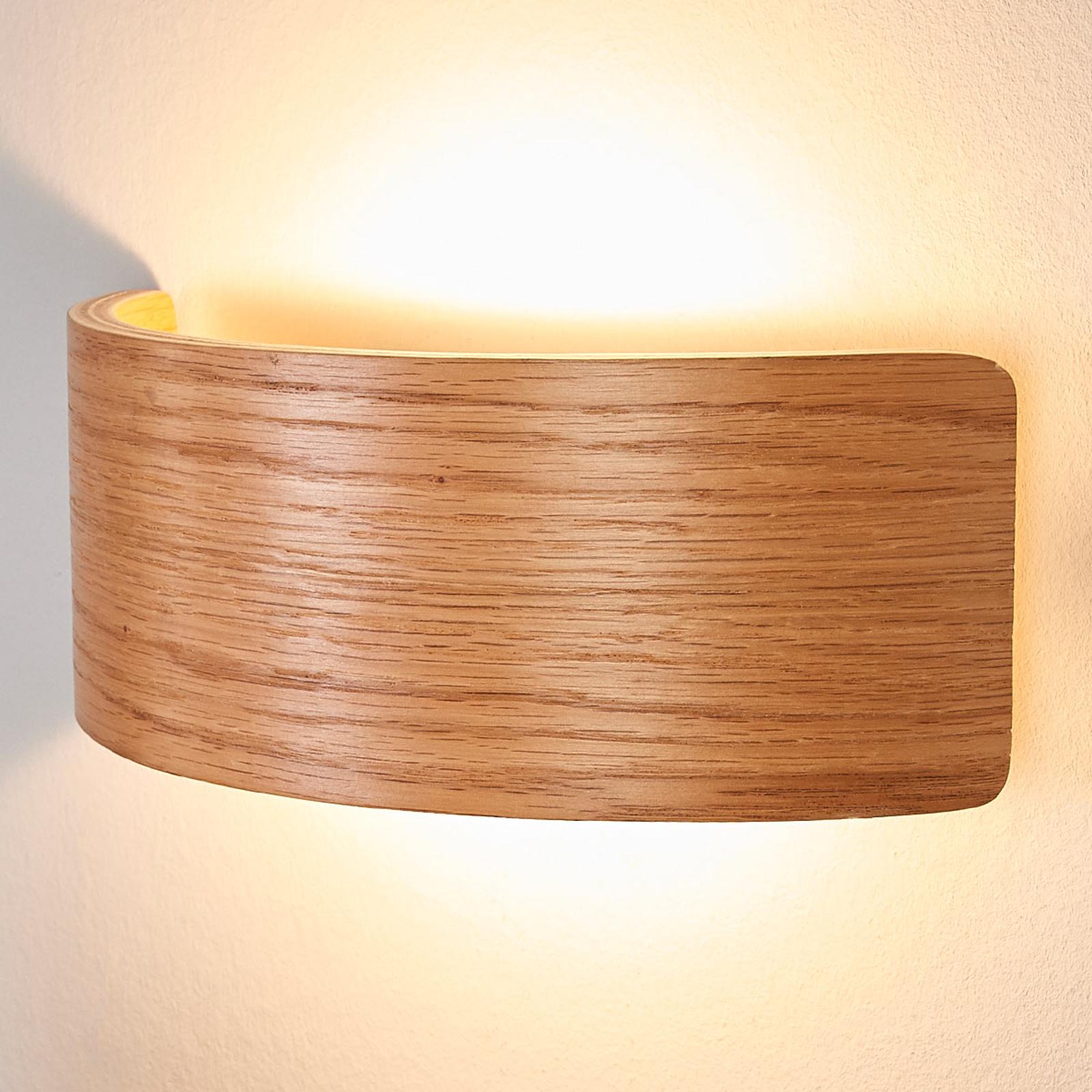 Trä-LED-vägglampa Rafailia, naturligt utseende