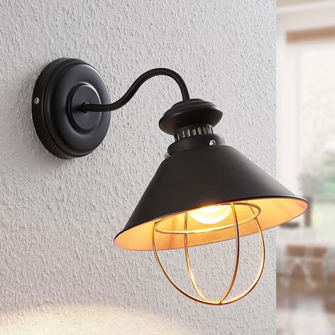 Wandlampe Aloisia mit Käfig, schwarz-kupfer