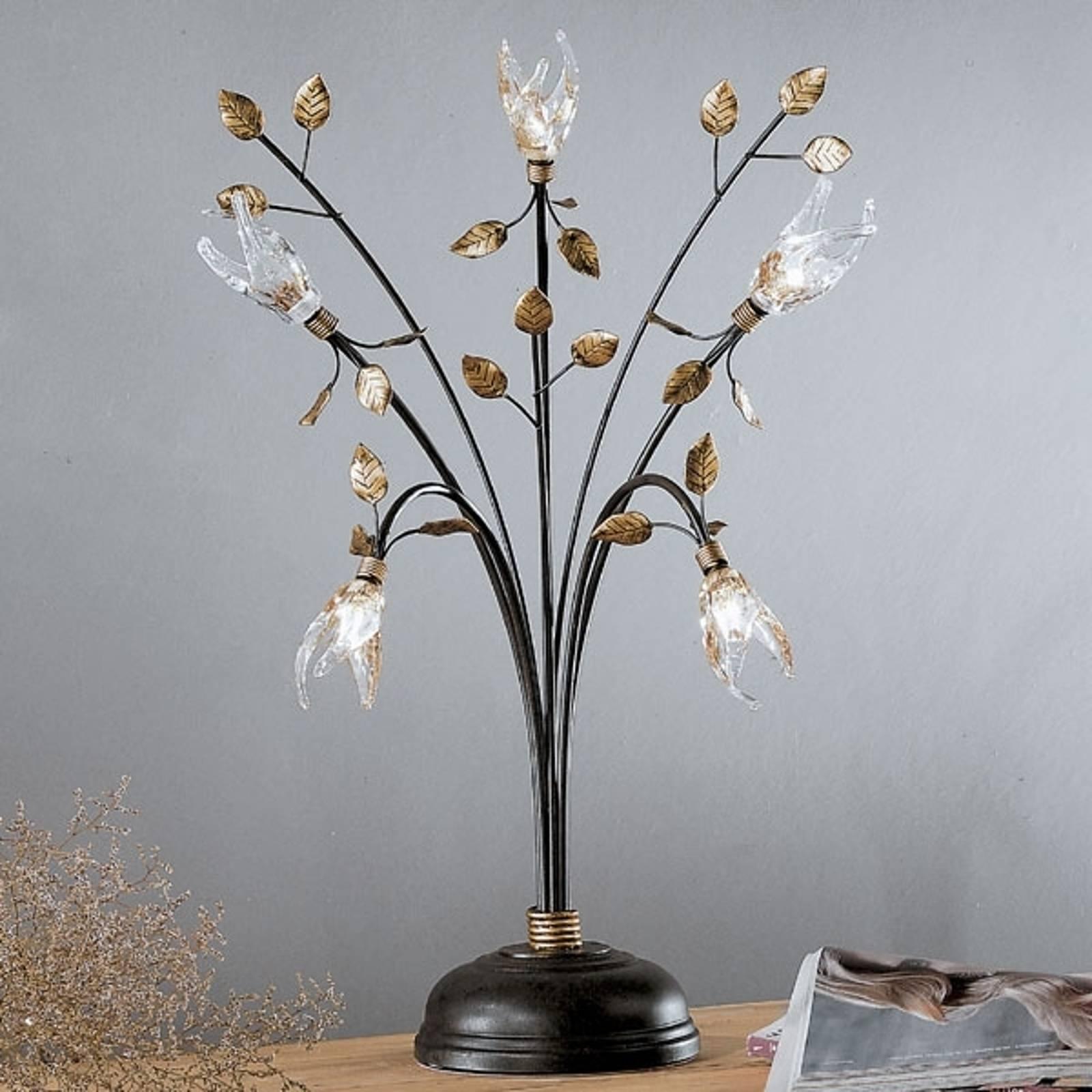 Florentijnse tafellamp MILLEFOGLIE, 5-lichts