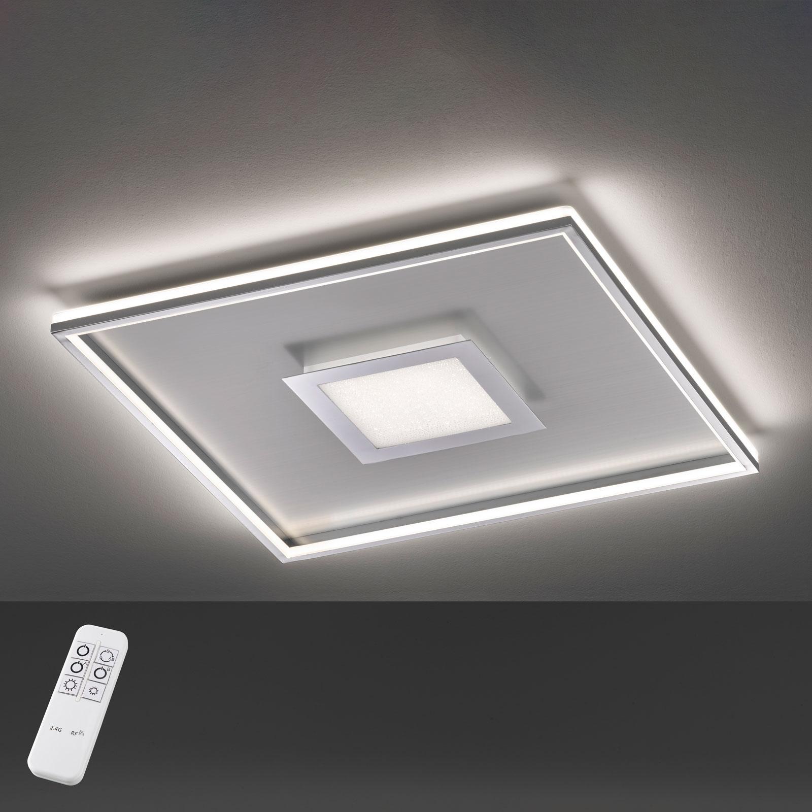 LED plafondlamp Bug vierkant, chroom 60x60cm