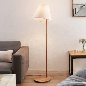 Lucande Jinda vloerlamp, houten frame, stof wit