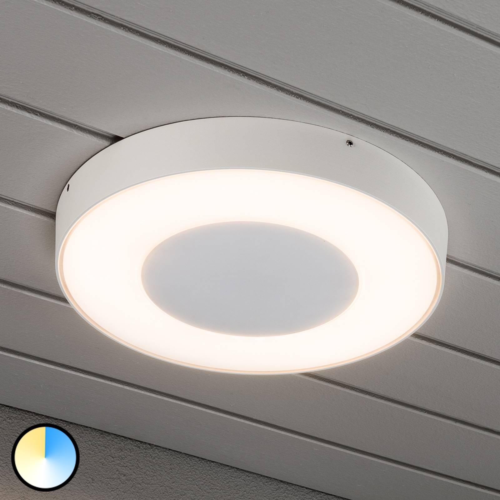 Ronde led buitenplafondlamp Carrara in wit
