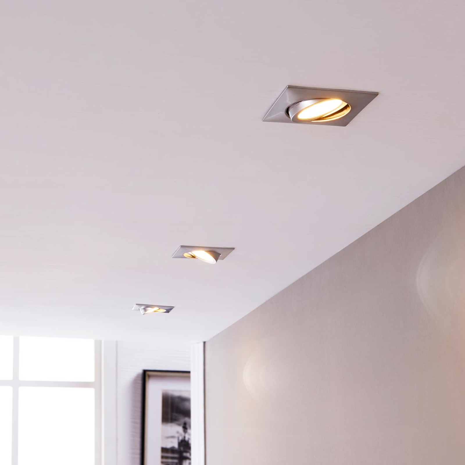 Chrom-Einbaulampen mit LEDs, eckig 3er-Set