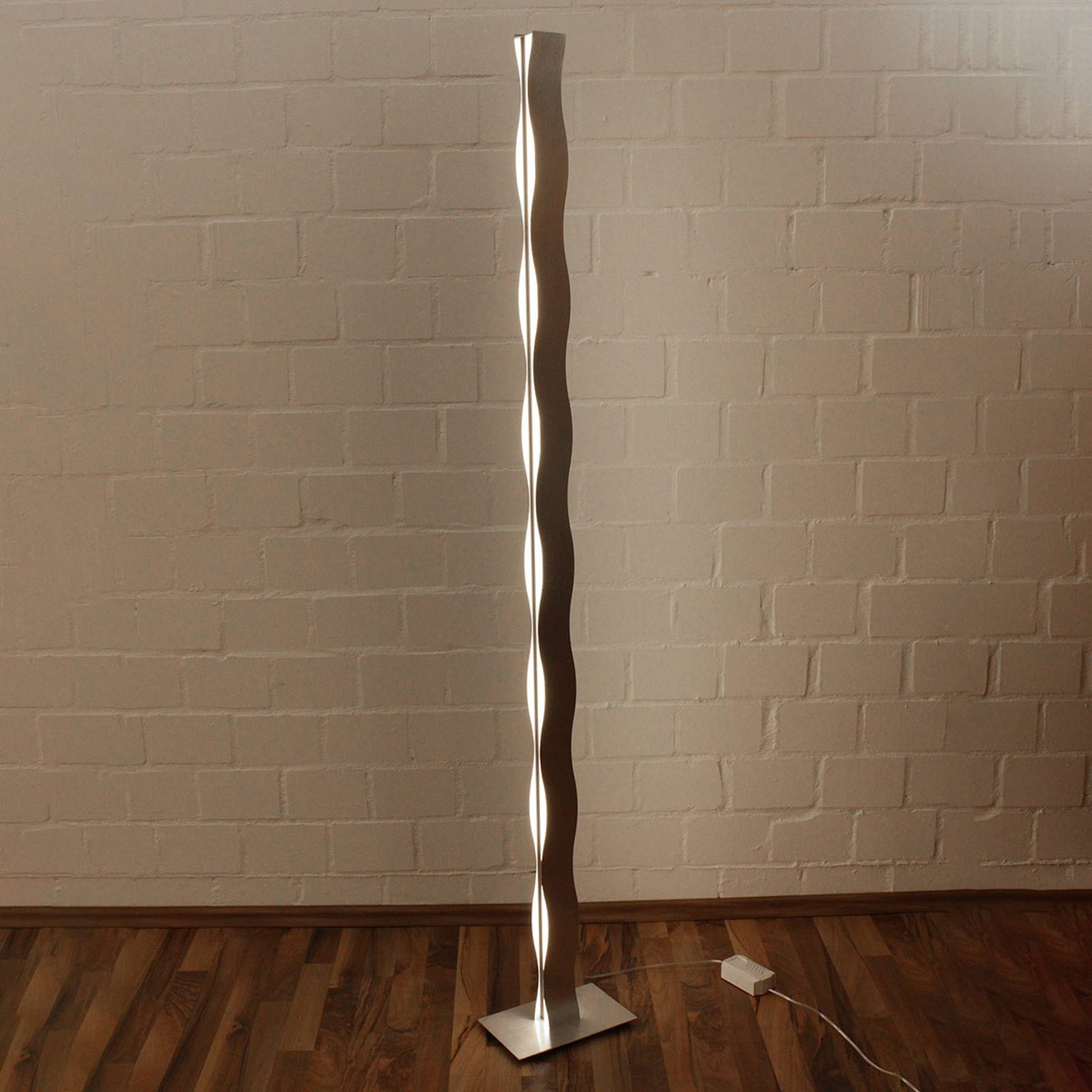 LED vloerlamp Wave nikkel
