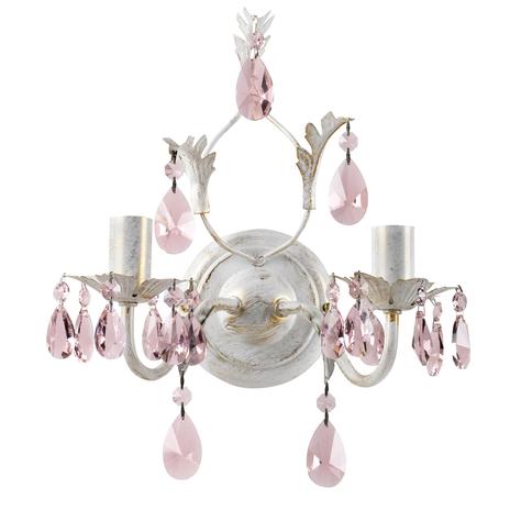 Lampa ścienna Kate, 2-pkt. biała, różowe kryształy