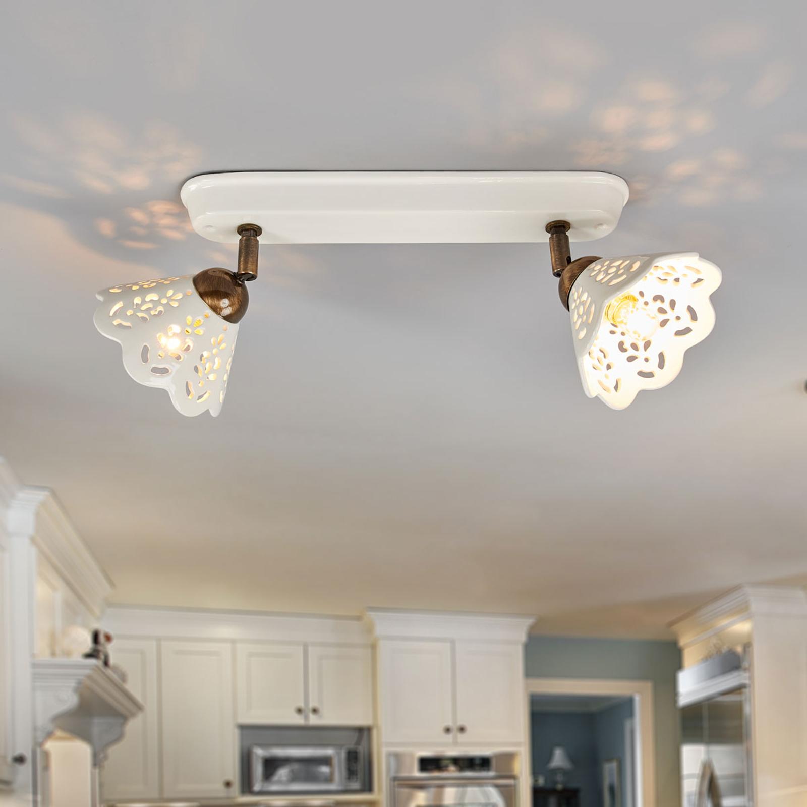 Henrivende væg-/loftlampe PORTICO, med 2 lyskilder