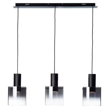 Lámpara colgante LED Beth, vidrio negro, 3 luces