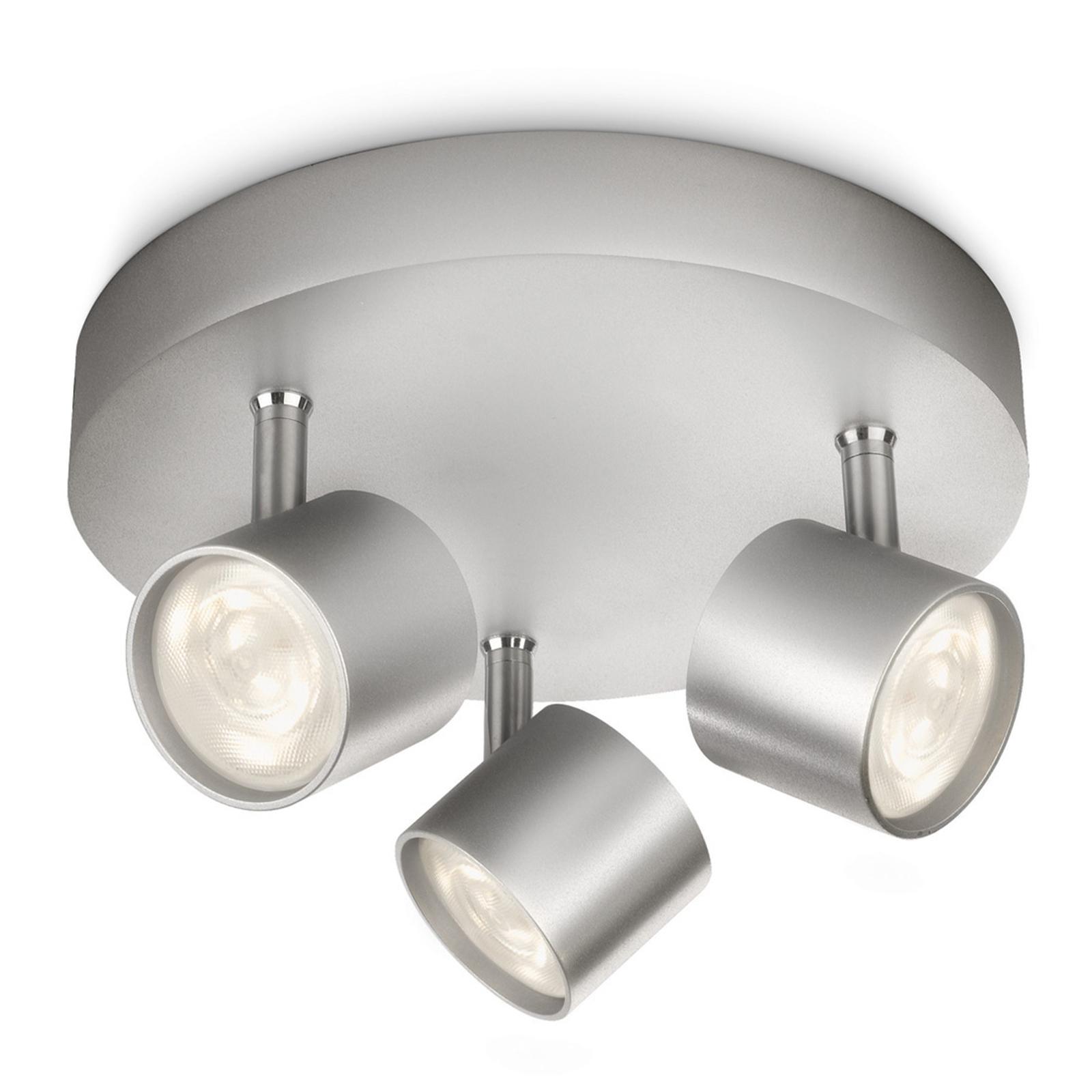 Okrągła lampa sufitowa LED STAR, 3-pkt., odchylana