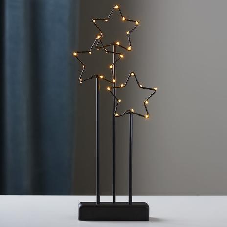 Czarna 3-gwiazdkowa lampa dekoracyjna Stary z LED