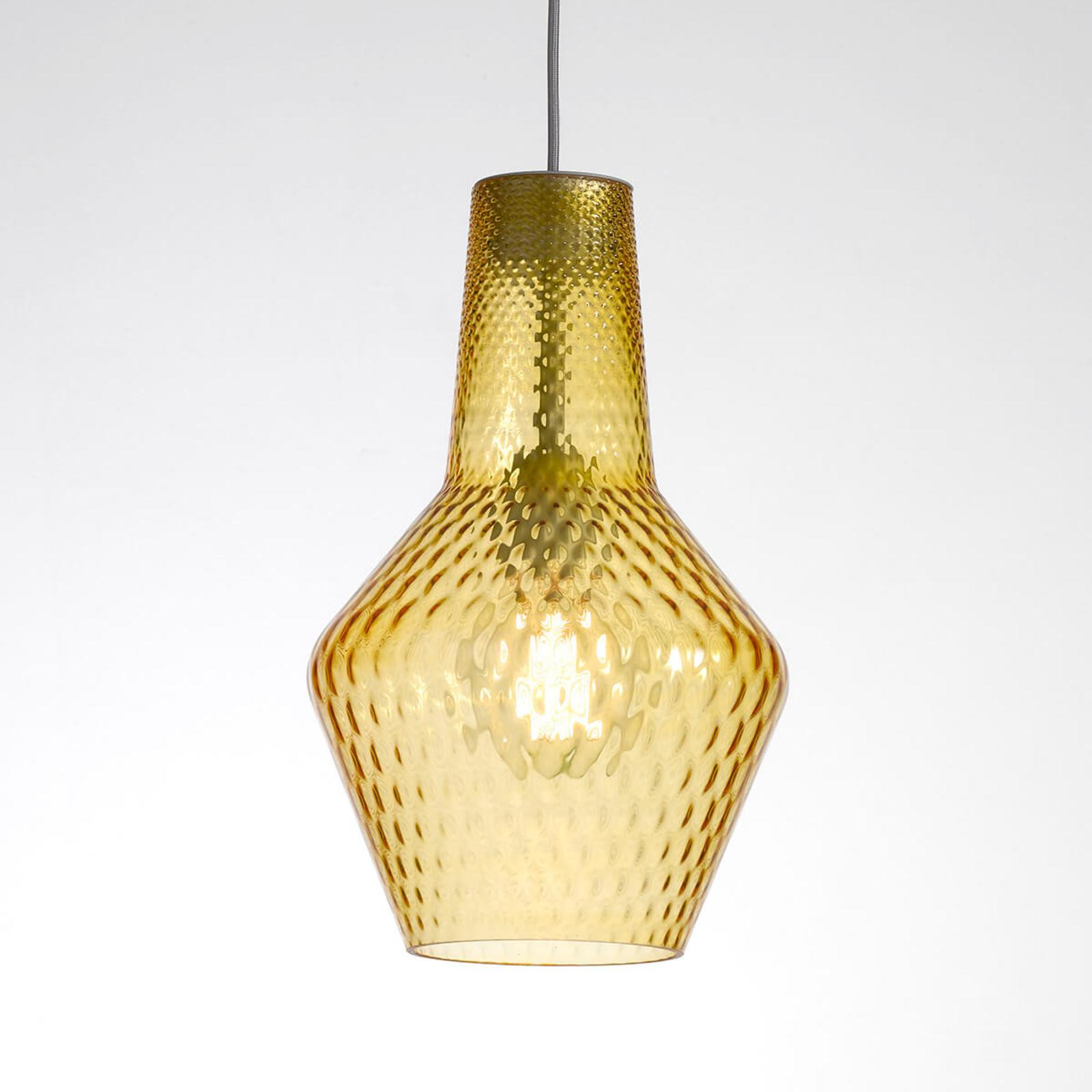 Lampa wisząca Romeo 130 cm, szkło bursztyn