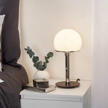 Wagenfeld-tafellamp met zwart gelakte voet