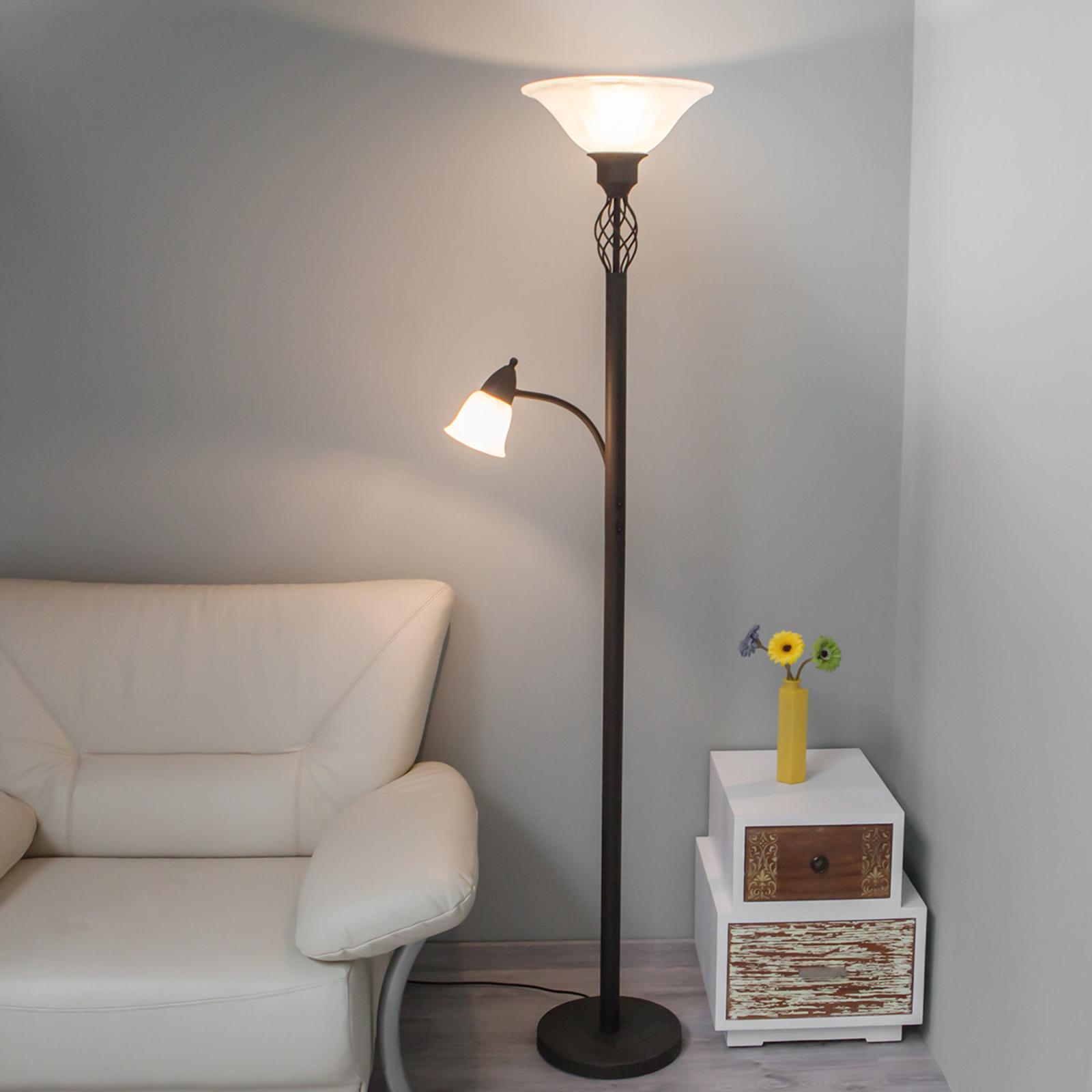 Uplight-lampe Dunja med LED-lys og leselampe