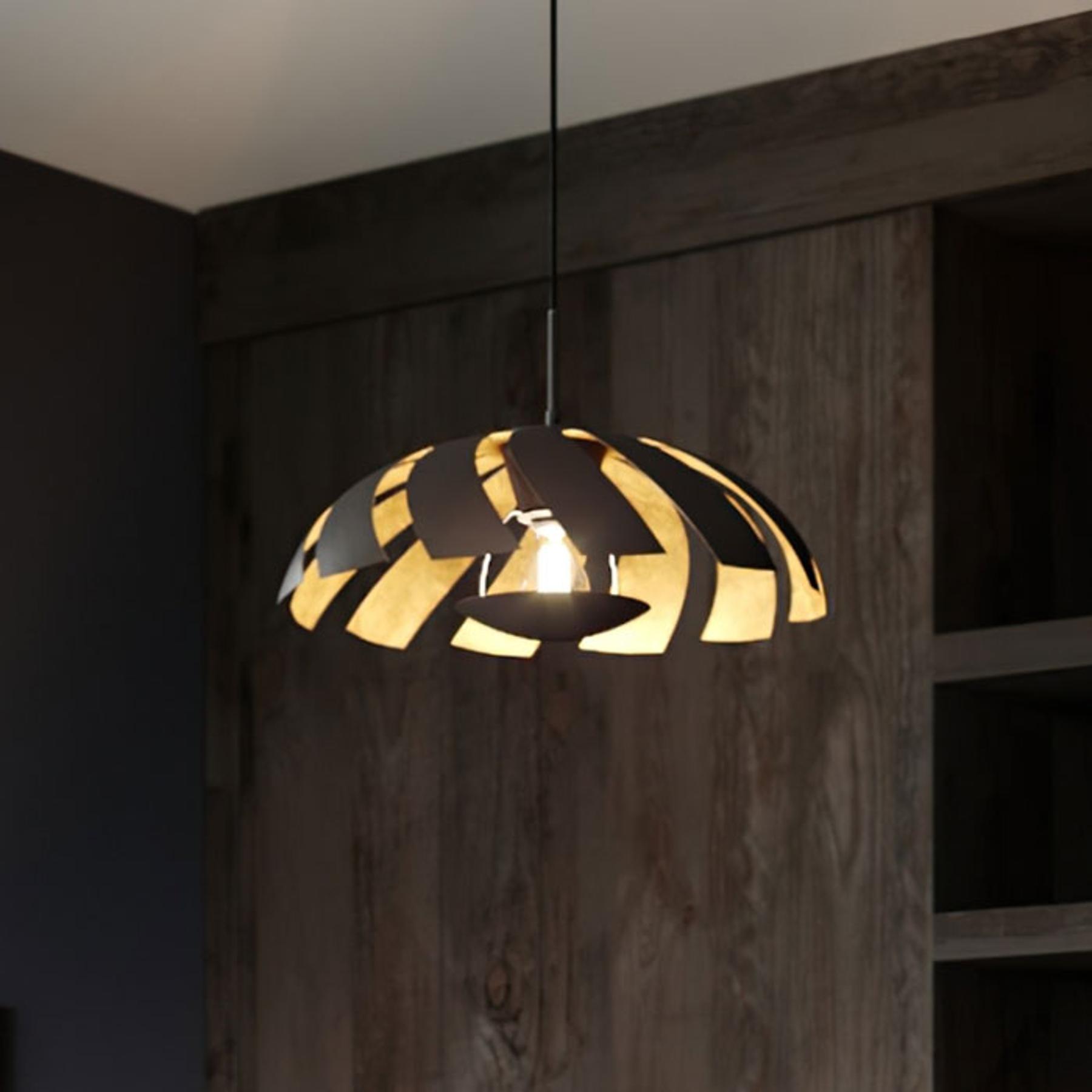 Lucande Archilleas hanglamp, zwart-goud