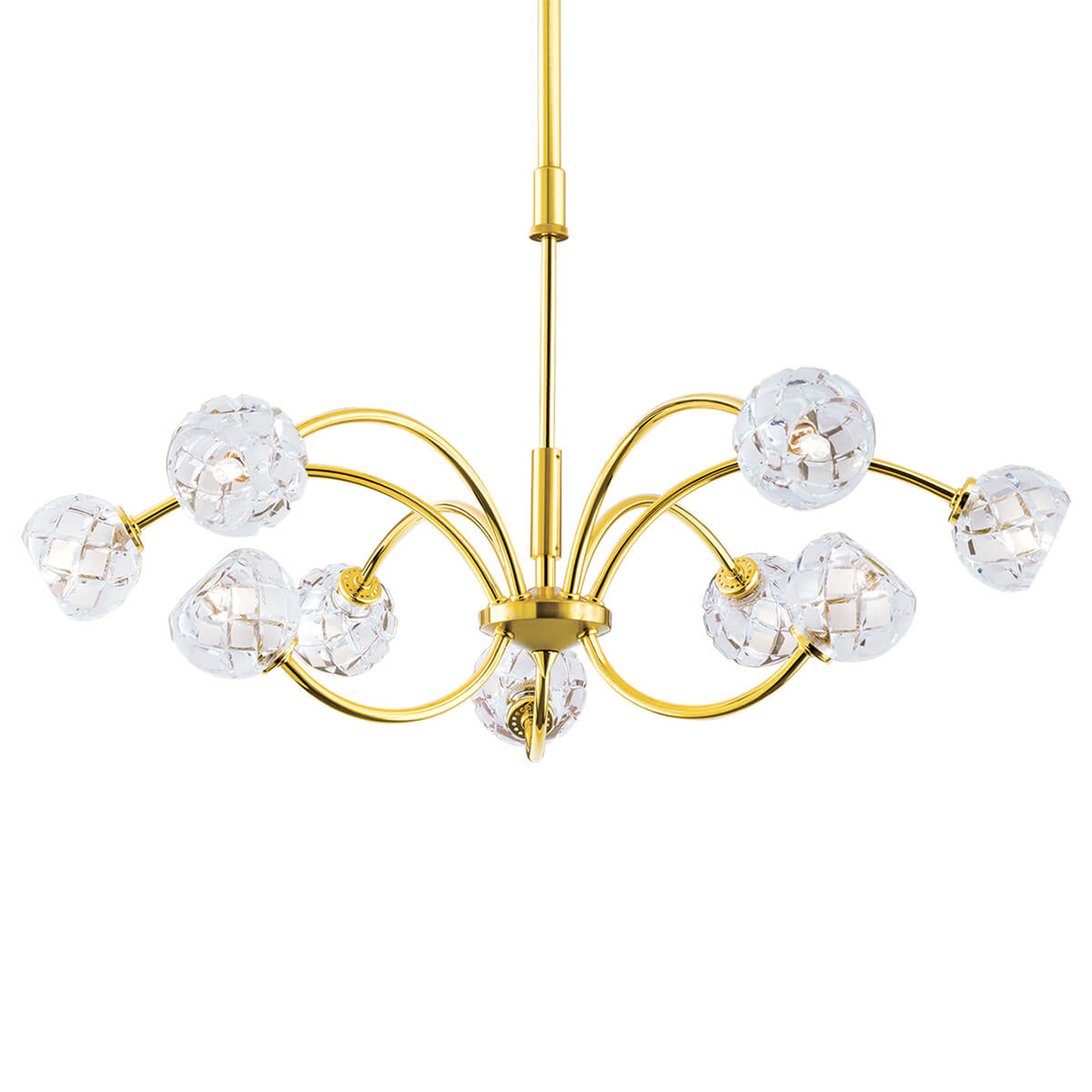Lampa wisząca z kryształami Maderno, złota, 69cm