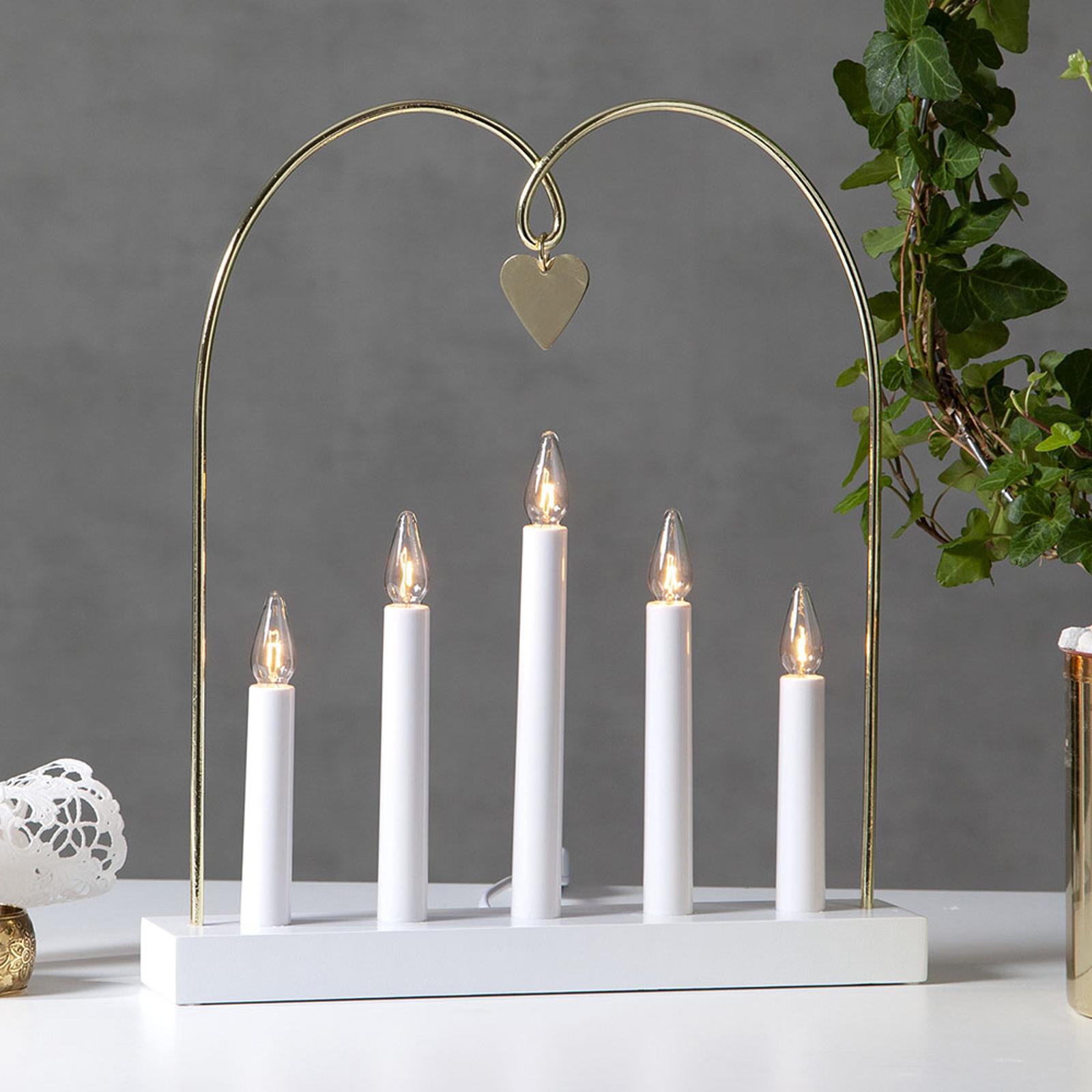 Läs mer om Fönsterljusstake Glossy båge, 5 lampor, vit