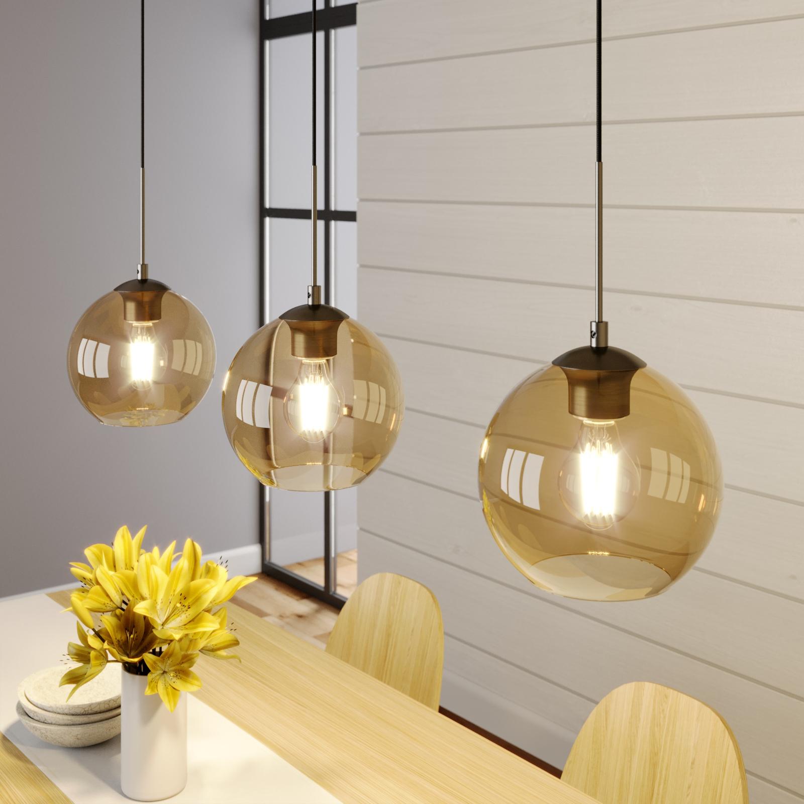Lindby Sofian -riippuvalaisin, 3-lamppuinen, ambra