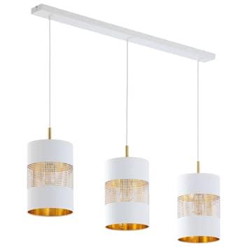 Lámpara colgante Bogart, 3 luces, blanco/oro