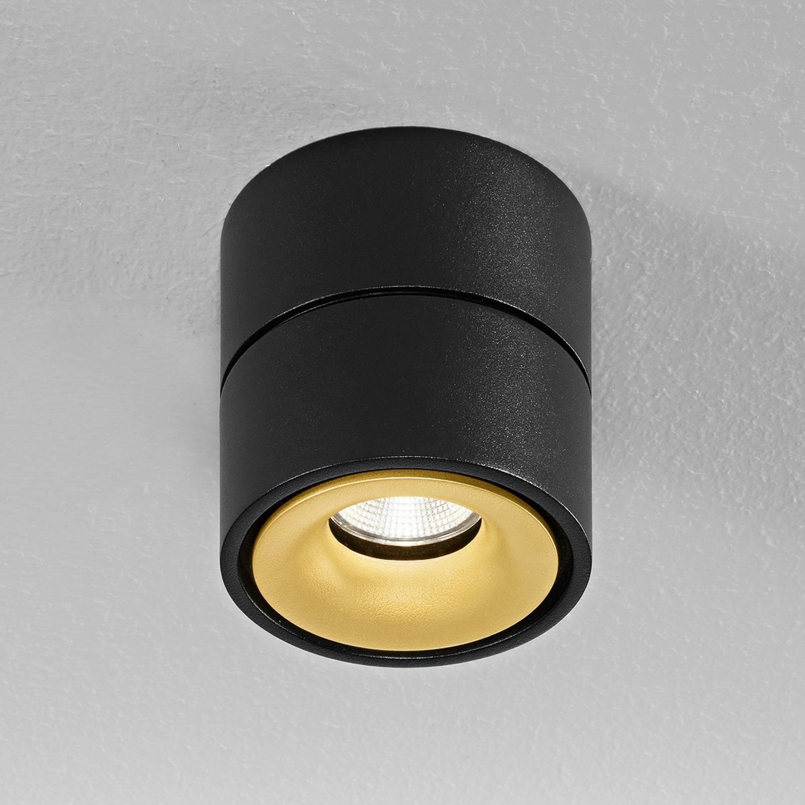 Egger Clippo spot LED soffitto, nero-oro, 2.700K