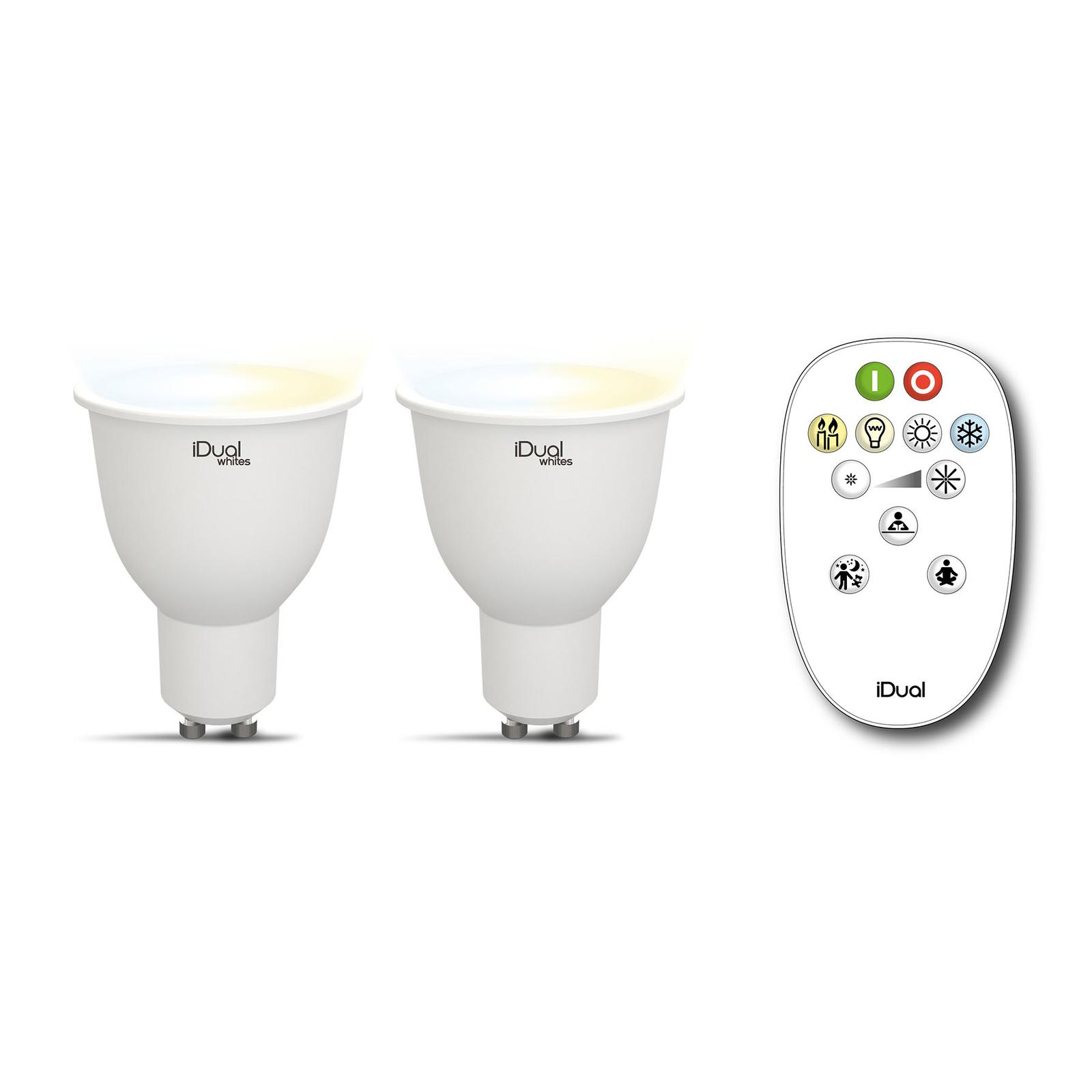 iDual Whites 2 réflecteurs GU10 5,8W télécommande