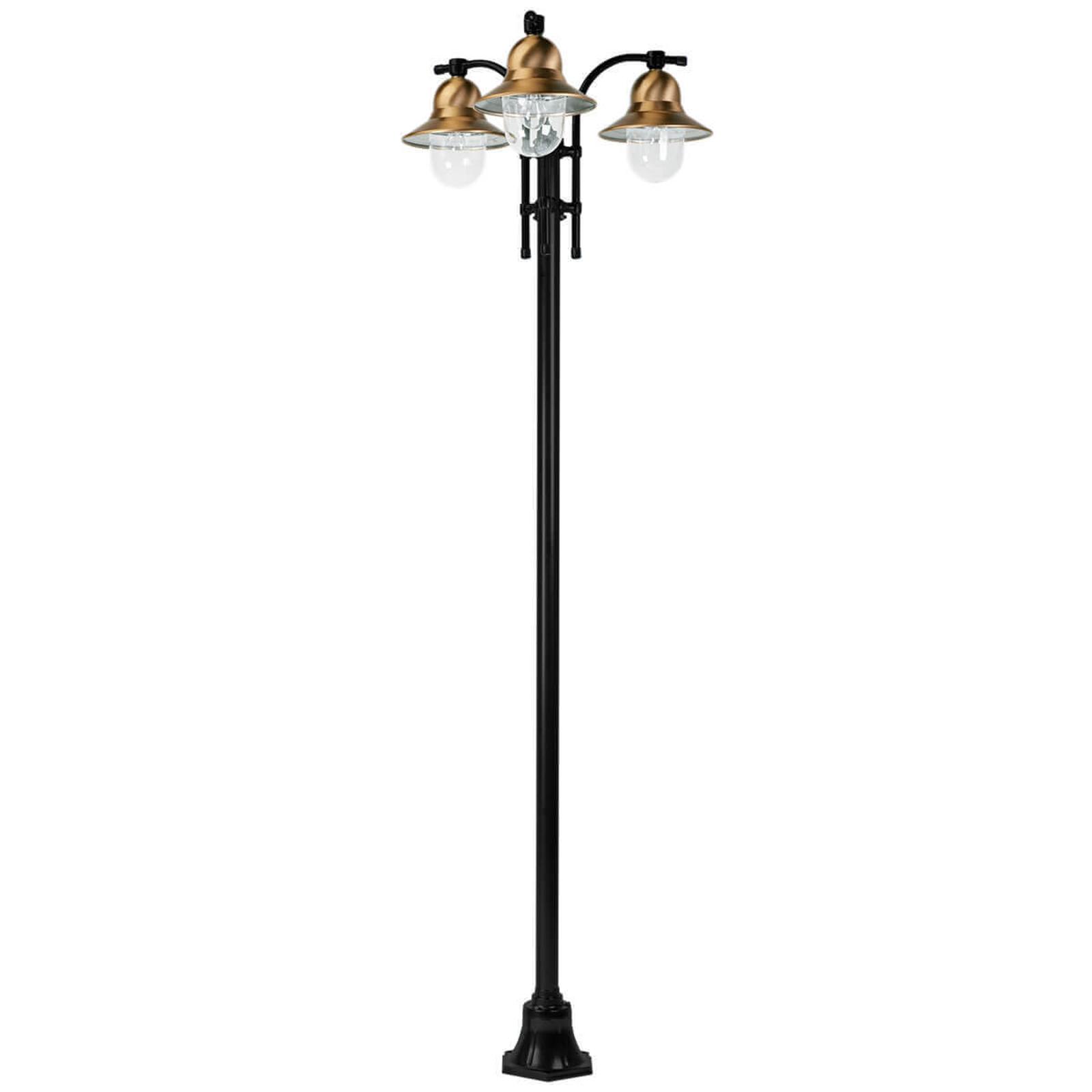 3-lamppuinen Toscane-lyhtypylväs, musta