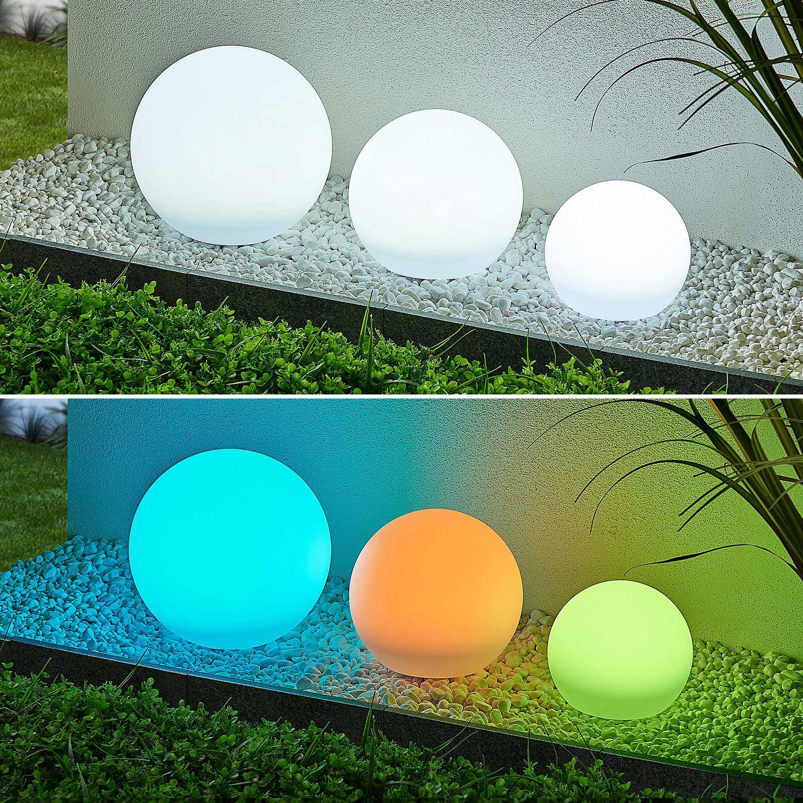 Lindby Lago LED-solcellelampe RGBW, 3er sett kuler