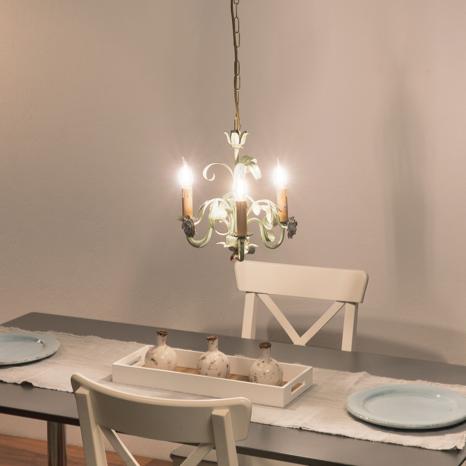 Ljuskrona Tulipe i florentinsk stil, 3 lampor