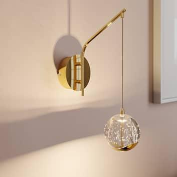 Kinkiet LED Hayley z wiszącą kulą, złoty