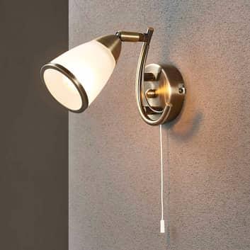 Irma - raffinata lampada da parete ottone antico