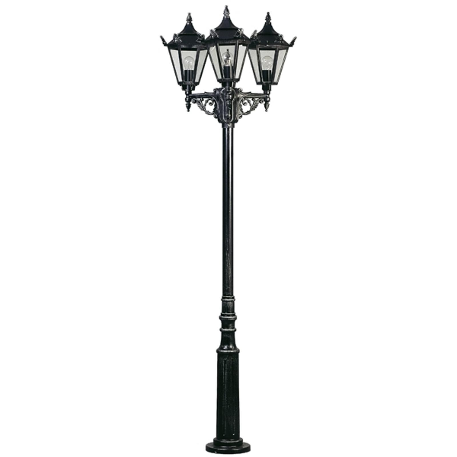 Lampadaire style rustique 756 noir à 3 lampes