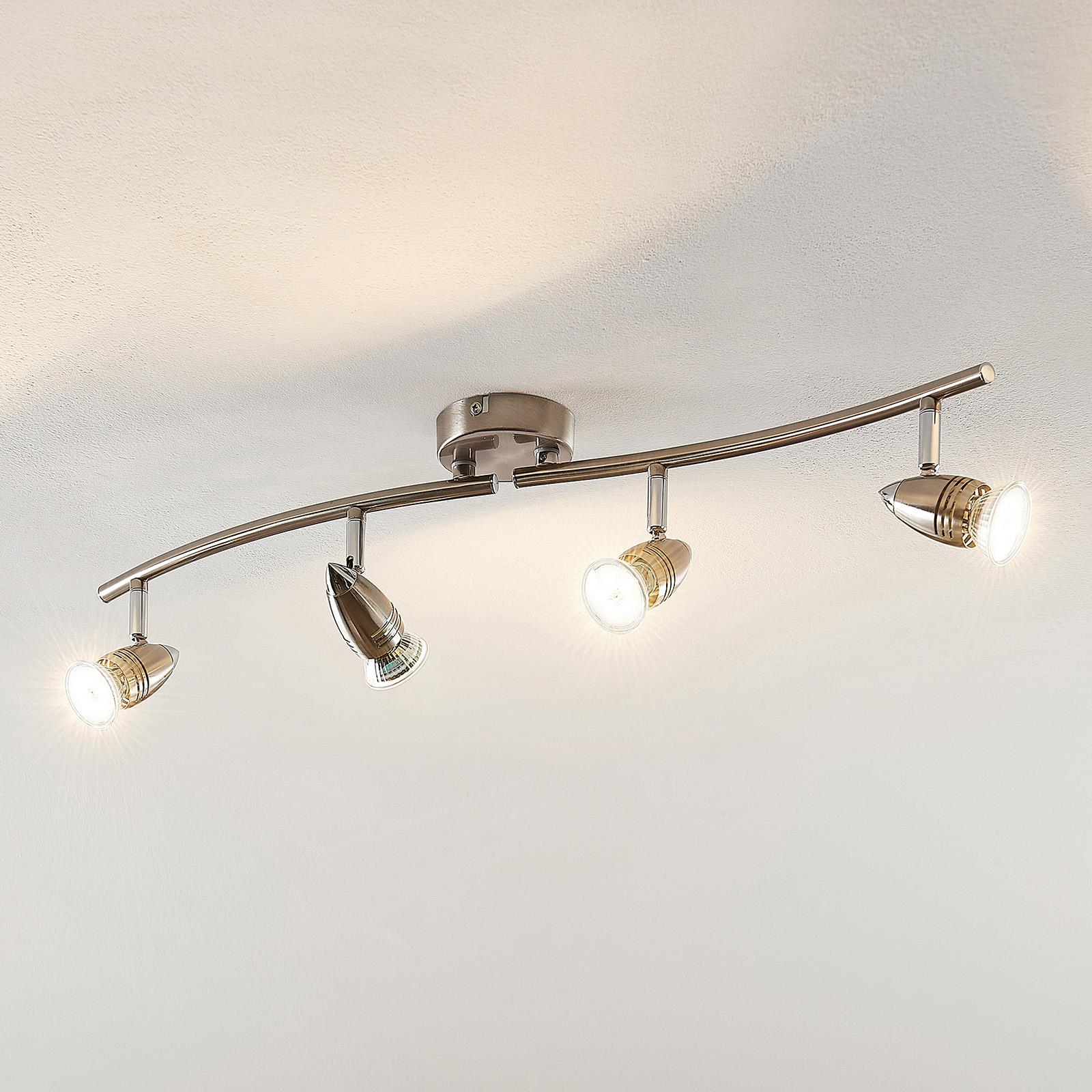 ELC Kalean spot pour plafond LED, nickel, 4 lampes