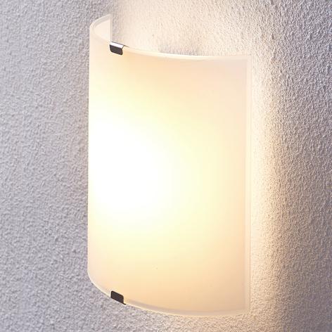 Halfronde LED wandlamp Helmi met glazen kap