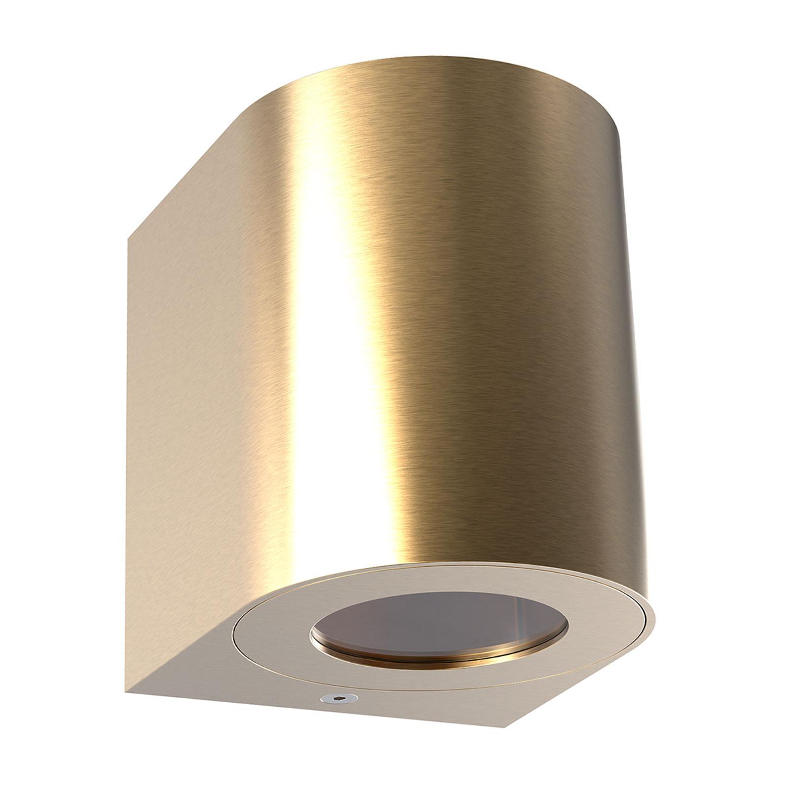 LED buitenwandlamp Canto 2, 10 cm, messing