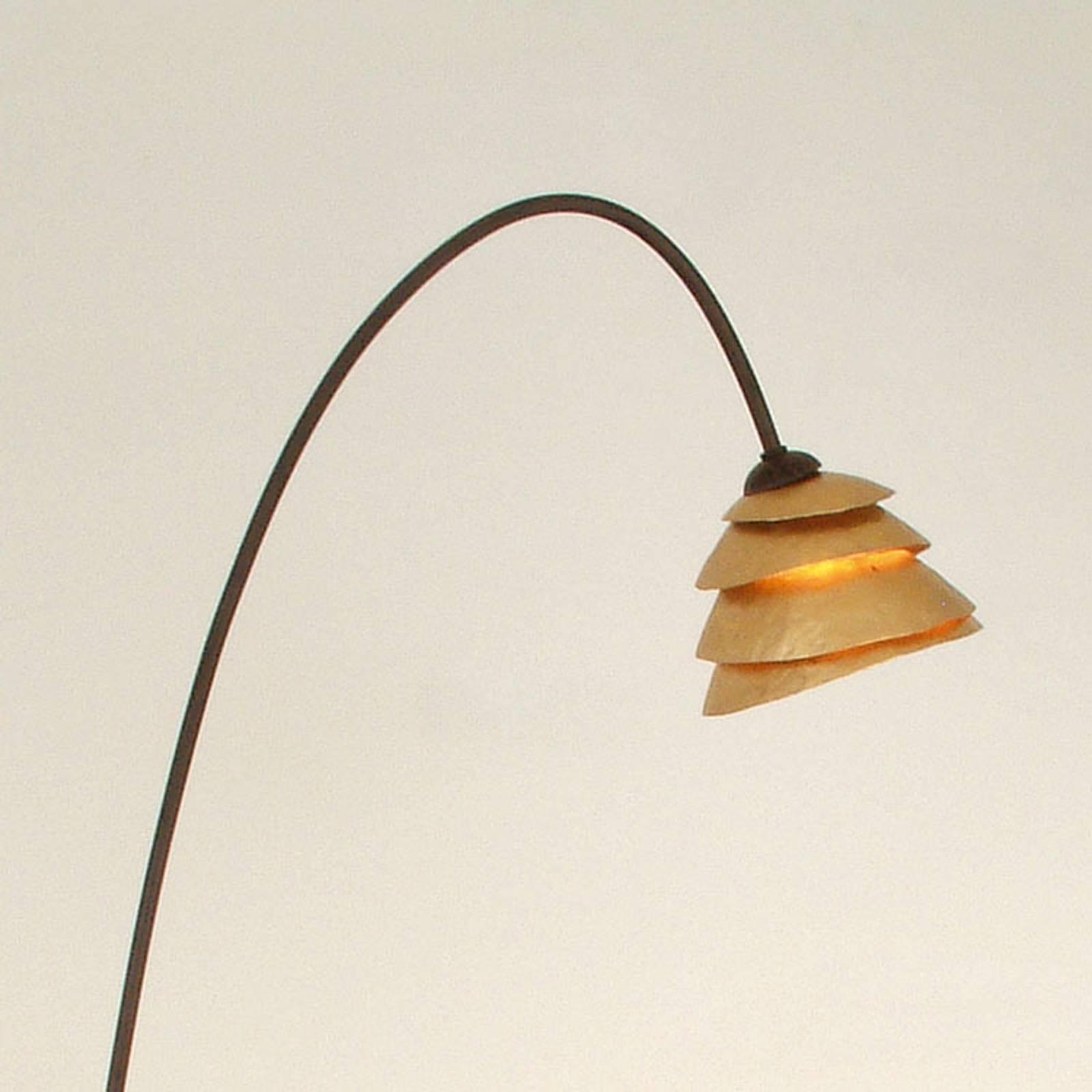 Elegante vloerlamp SNAIL 1-lichts ijzer bruin-goud